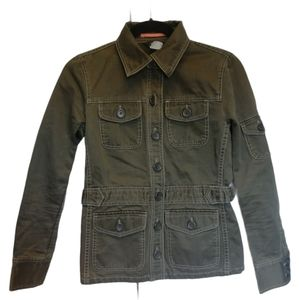J CREW utility button detail cotton olive jacket